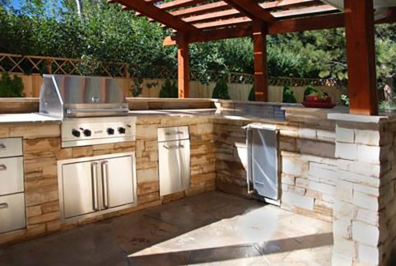 Outdoor kitchens the hot tub factory long island hot tubs for Plans for outside kitchen