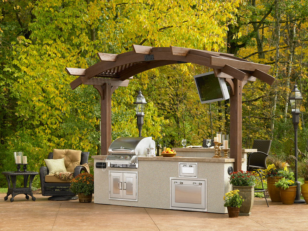 Pergolas in long island ny the hot tub factory for Outdoor kitchen under pergola